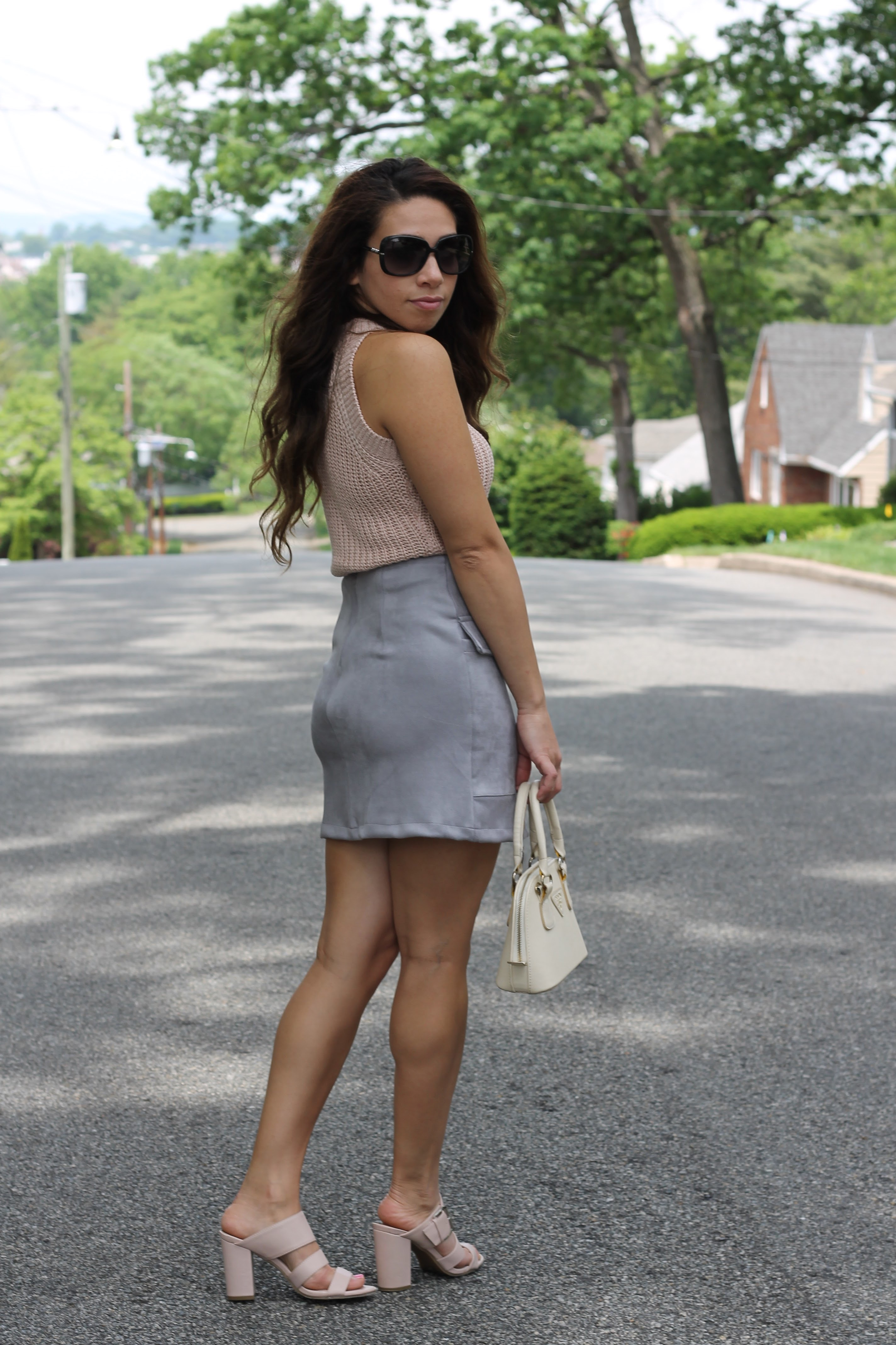 grey skirt and pink sweater