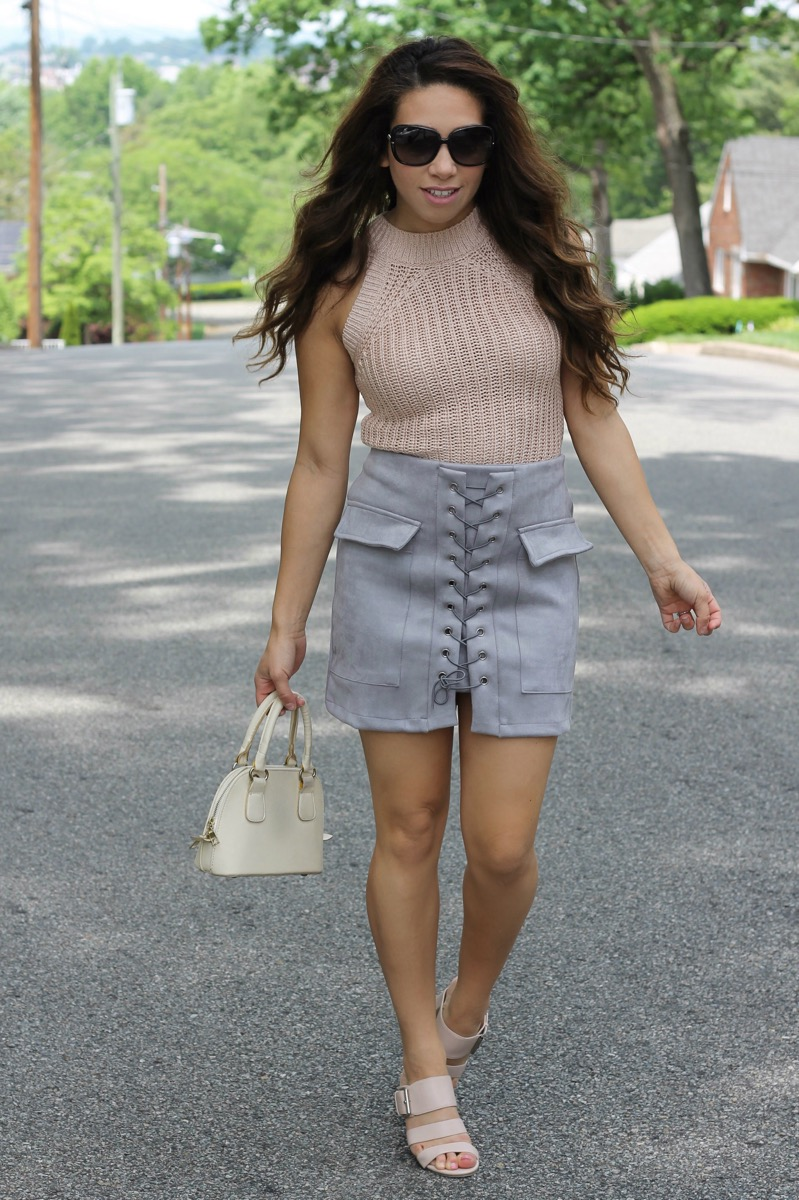 Grey Suede Skirt and Cropped sweater
