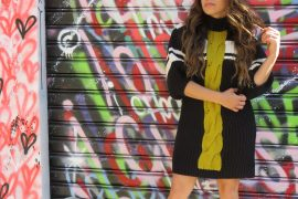 free people sweater dress with green stripe and sock booties