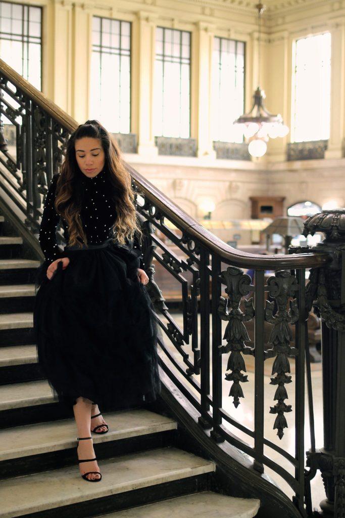 black tulle skirt and velvet bodysuit